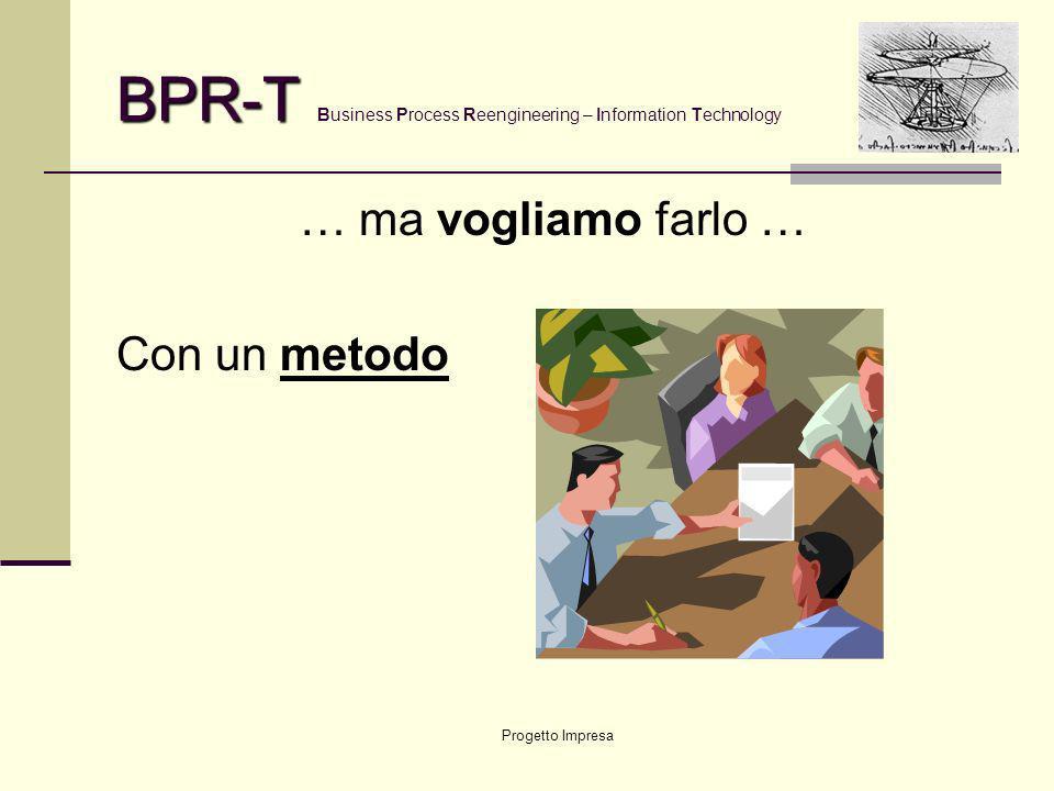 Progetto Impresa BPR-T BPR-T Business Process Reengineering – Information Technology … ma vogliamo farlo … Con un metodo