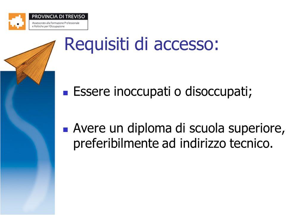 Requisiti di accesso: Essere inoccupati o disoccupati; Avere un diploma di scuola superiore, preferibilmente ad indirizzo tecnico.