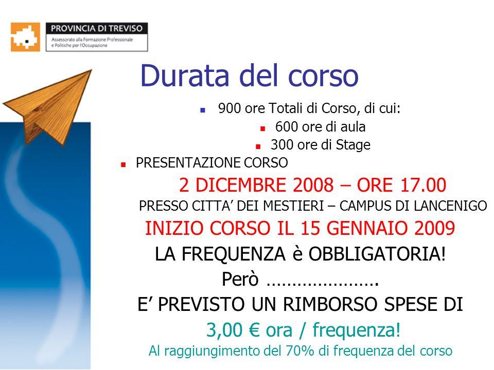 Durata del corso 900 ore Totali di Corso, di cui: 600 ore di aula 300 ore di Stage PRESENTAZIONE CORSO 2 DICEMBRE 2008 – ORE 17.00 PRESSO CITTA DEI ME