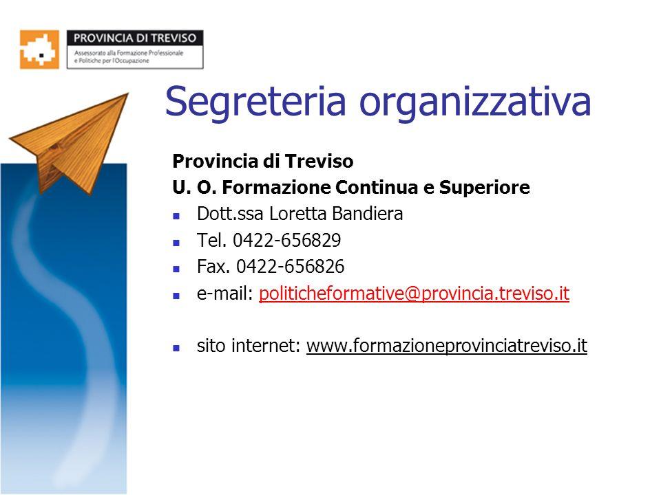 Segreteria organizzativa Provincia di Treviso U. O. Formazione Continua e Superiore Dott.ssa Loretta Bandiera Tel. 0422-656829 Fax. 0422-656826 e-mail