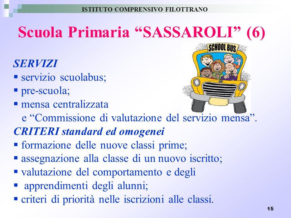 15 Scuola Primaria SASSAROLI (6) SERVIZI servizio scuolabus; pre-scuola; mensa centralizzata e Commissione di valutazione del servizio mensa. CRITERI