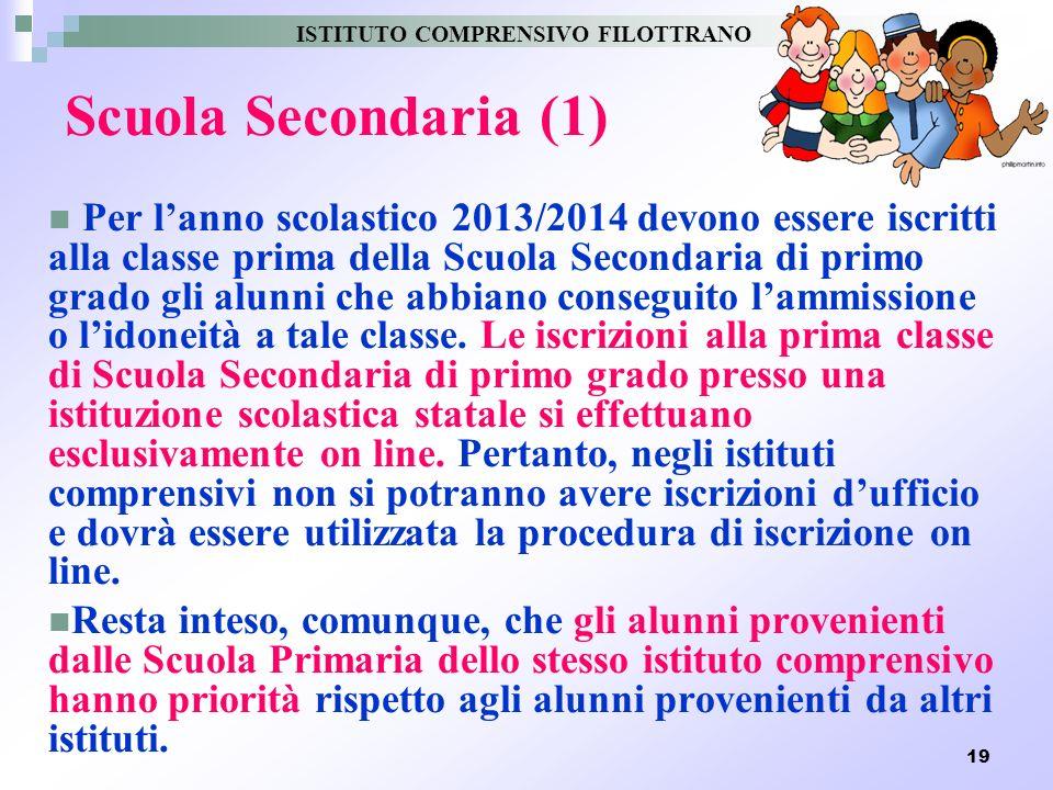19 Scuola Secondaria (1) Per lanno scolastico 2013/2014 devono essere iscritti alla classe prima della Scuola Secondaria di primo grado gli alunni che