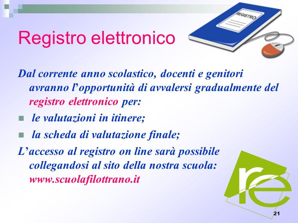 21 Registro elettronico Dal corrente anno scolastico, docenti e genitori avranno lopportunità di avvalersi gradualmente del registro elettronico per: