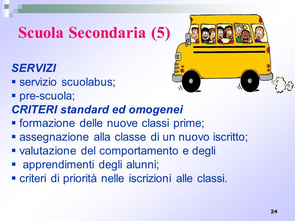 24 Scuola Secondaria (5) SERVIZI servizio scuolabus; pre-scuola; CRITERI standard ed omogenei formazione delle nuove classi prime; assegnazione alla c