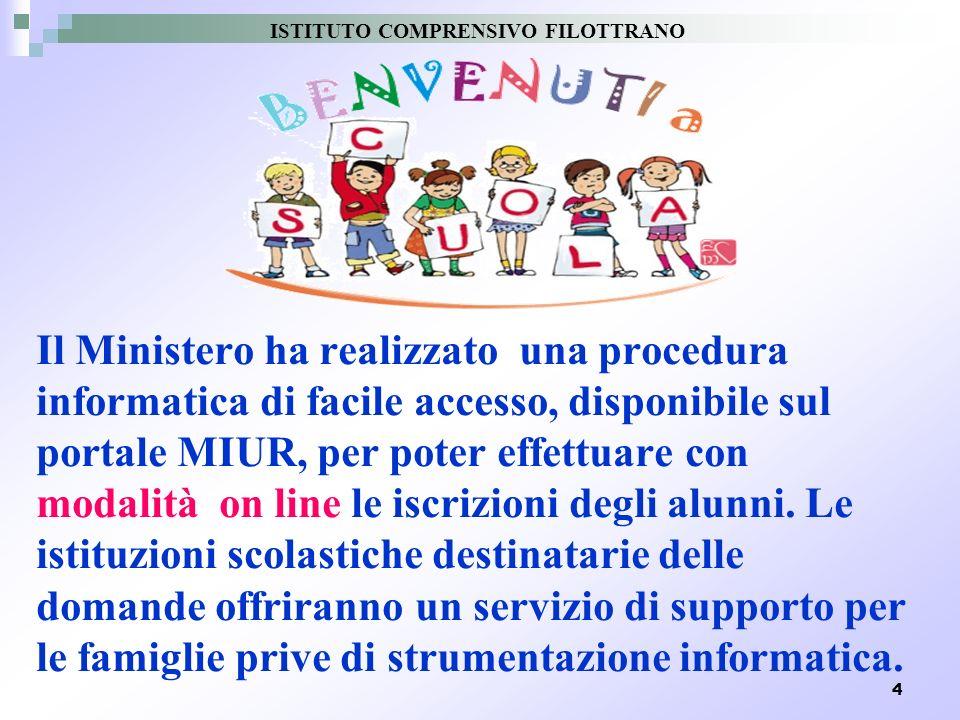 4 Il Ministero ha realizzato una procedura informatica di facile accesso, disponibile sul portale MIUR, per poter effettuare con modalità on line le i