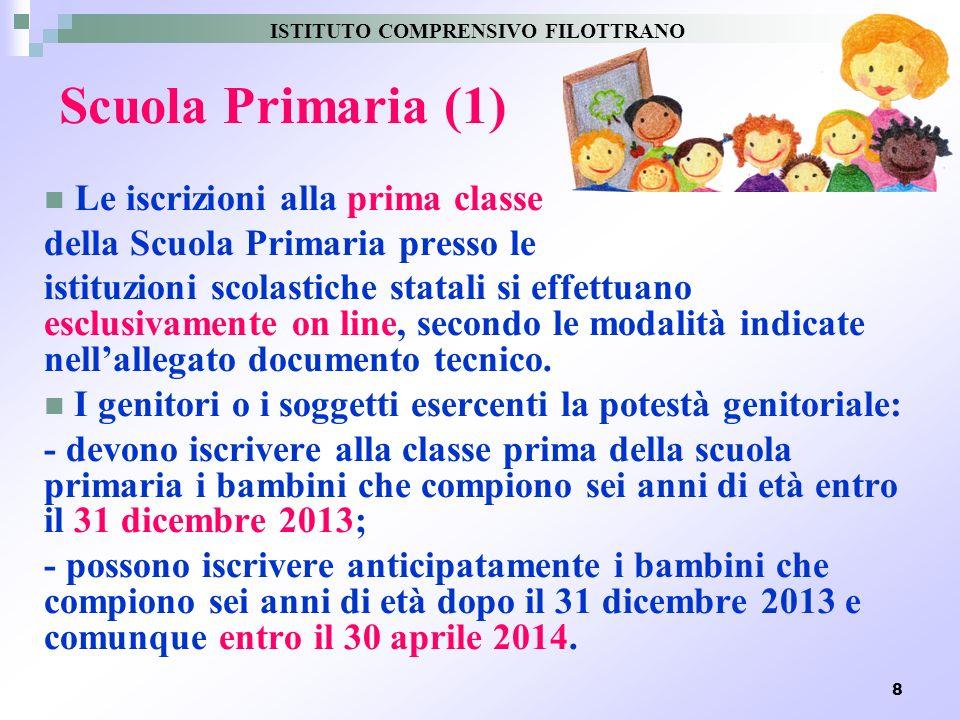 8 Scuola Primaria (1) Le iscrizioni alla prima classe della Scuola Primaria presso le istituzioni scolastiche statali si effettuano esclusivamente on