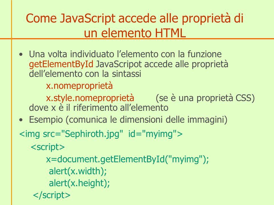Come JavaScript accede alle proprietà di un elemento HTML Una volta individuato lelemento con la funzione getElementById JavaScripot accede alle propr