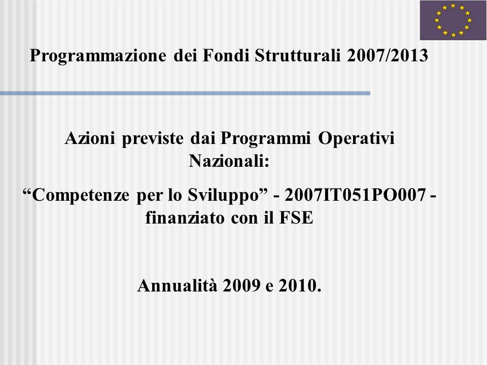 Azioni previste dai Programmi Operativi Nazionali: Competenze per lo Sviluppo - 2007IT051PO007 - finanziato con il FSE Annualità 2009 e 2010.
