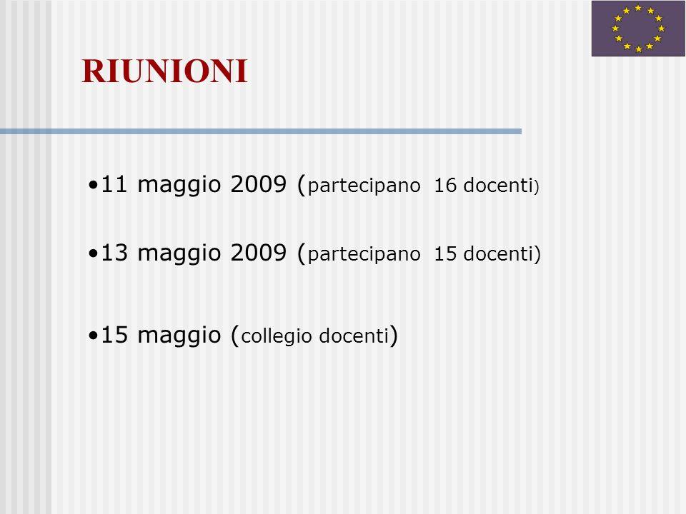 11 maggio 2009 ( partecipano 16 docenti ) 13 maggio 2009 ( partecipano 15 docenti) 15 maggio ( collegio docenti ) RIUNIONI