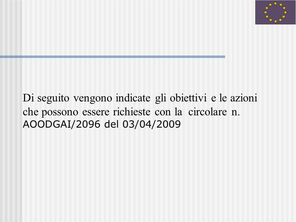 Di seguito vengono indicate gli obiettivi e le azioni che possono essere richieste con la circolare n.