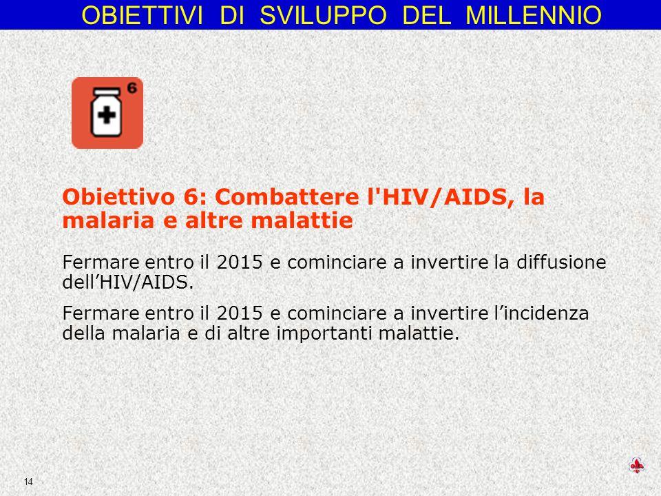 OBIETTIVI DI SVILUPPO DEL MILLENNIO 14 Obiettivo 6: Combattere l HIV/AIDS, la malaria e altre malattie Fermare entro il 2015 e cominciare a invertire la diffusione dellHIV/AIDS.