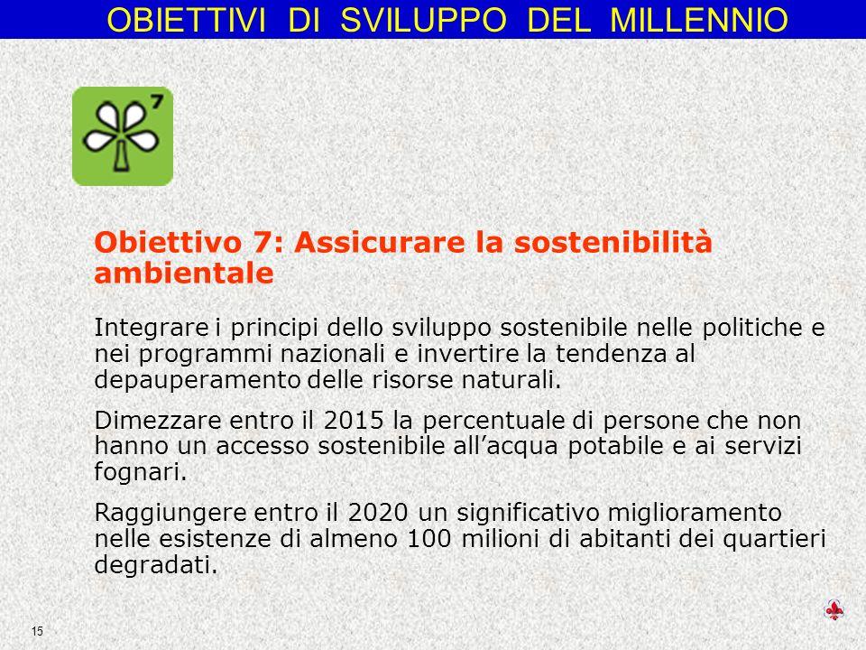OBIETTIVI DI SVILUPPO DEL MILLENNIO 15 Obiettivo 7: Assicurare la sostenibilità ambientale Integrare i principi dello sviluppo sostenibile nelle politiche e nei programmi nazionali e invertire la tendenza al depauperamento delle risorse naturali.