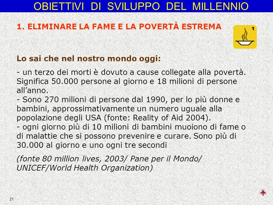 OBIETTIVI DI SVILUPPO DEL MILLENNIO 21 Lo sai che nel nostro mondo oggi: - un terzo dei morti è dovuto a cause collegate alla povertà.