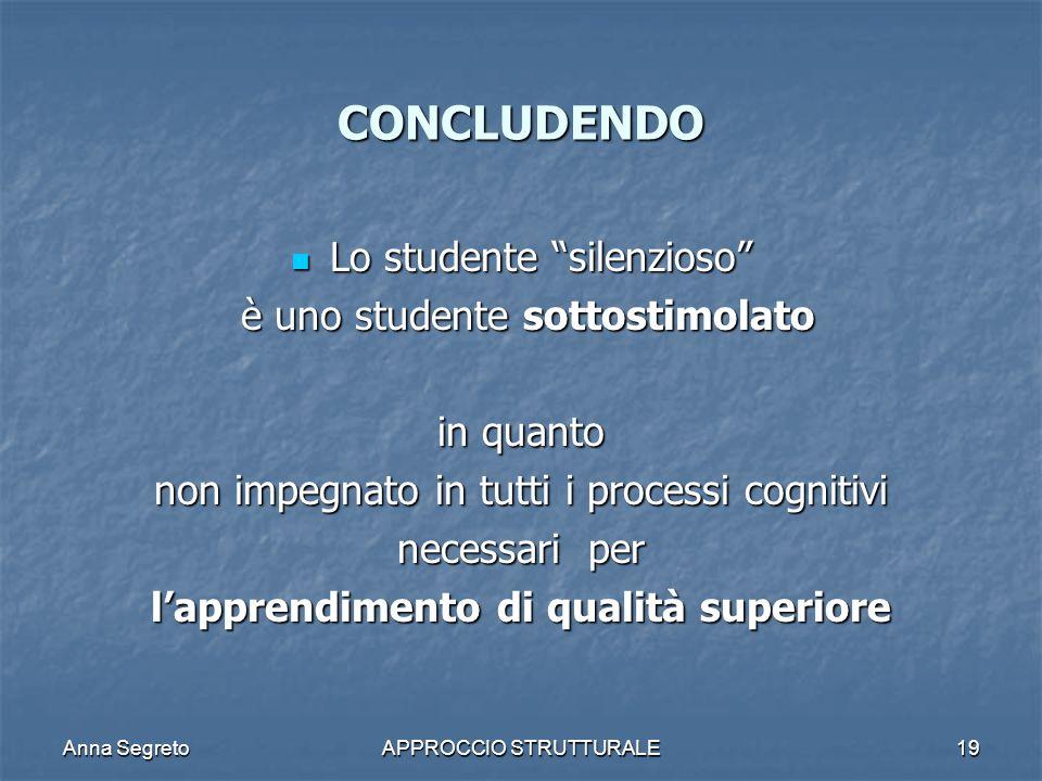 Anna SegretoAPPROCCIO STRUTTURALE19 CONCLUDENDO Lo studente silenzioso Lo studente silenzioso è uno studente sottostimolato è uno studente sottostimol
