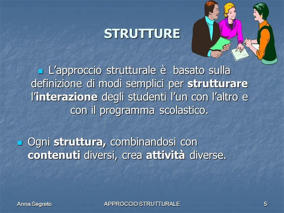 Anna SegretoAPPROCCIO STRUTTURALE5 STRUTTURE Lapproccio strutturale è basato sulla definizione di modi semplici per strutturare linterazione degli stu