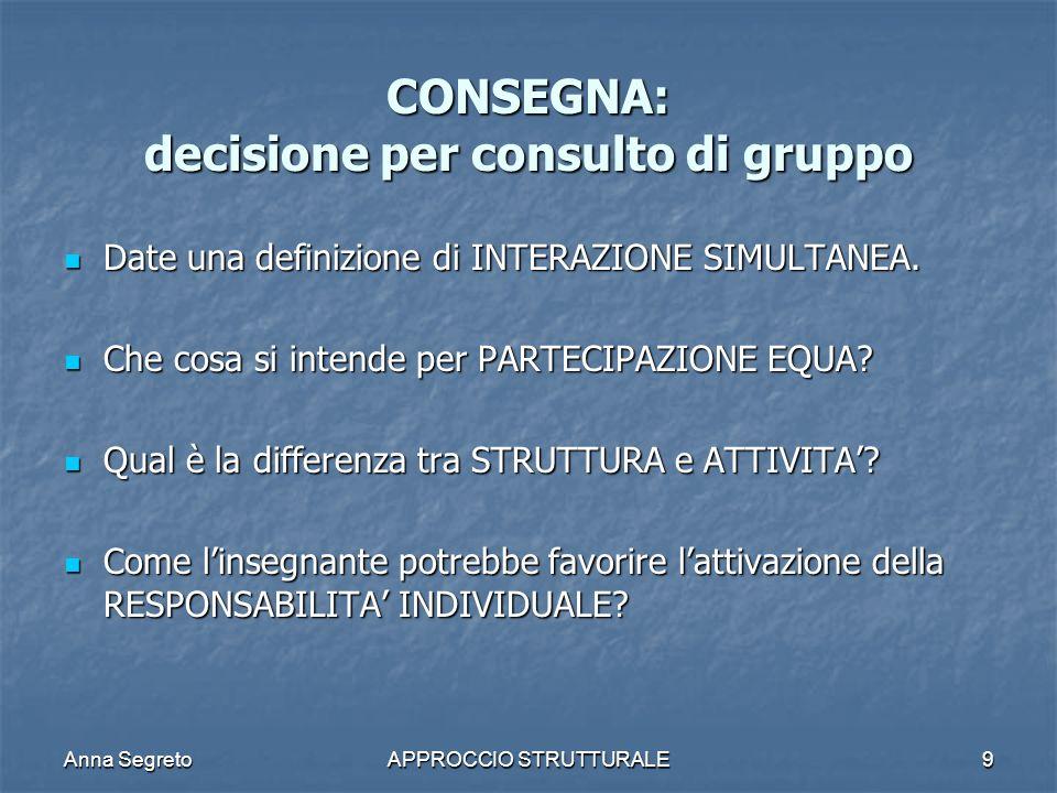 Anna SegretoAPPROCCIO STRUTTURALE9 CONSEGNA: decisione per consulto di gruppo Date una definizione di INTERAZIONE SIMULTANEA. Date una definizione di