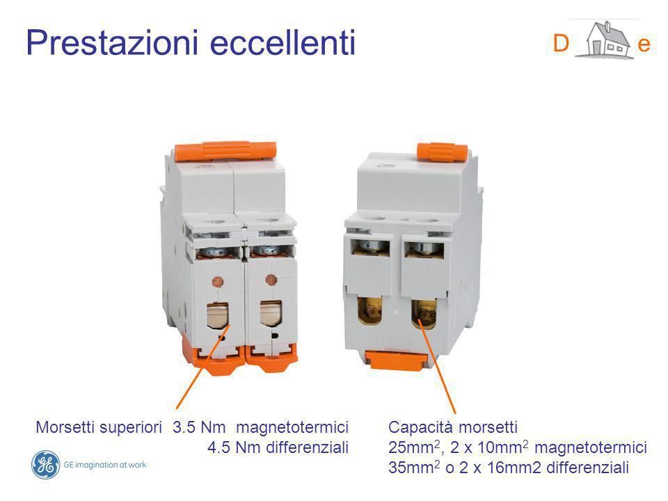 Prestazioni eccellenti DMS-line Morsetti superiori 3.5 Nm magnetotermici 4.5 Nm differenziali Capacità morsetti 25mm 2, 2 x 10mm 2 magnetotermici 35mm 2 o 2 x 16mm2 differenziali