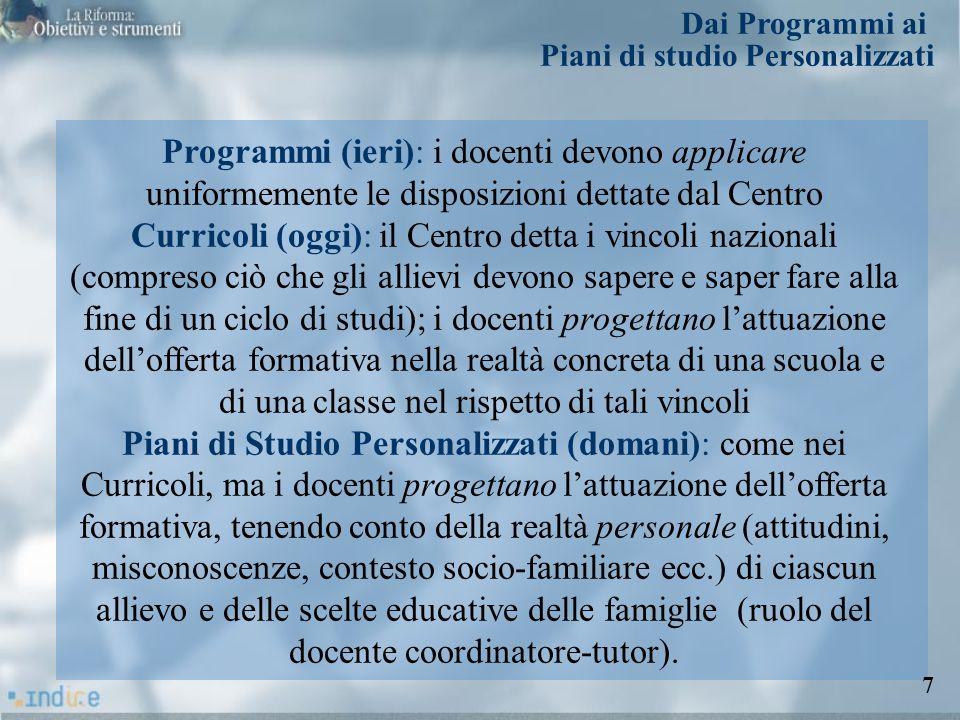 Programmi (ieri): i docenti devono applicare uniformemente le disposizioni dettate dal Centro Curricoli (oggi): il Centro detta i vincoli nazionali (c