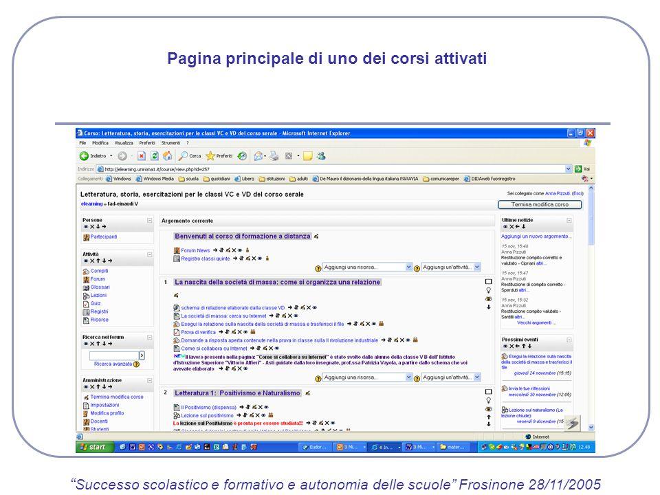 Pagina tipo per la preparazione di una attività Successo scolastico e formativo e autonomia delle scuole Frosinone 28/11/2005
