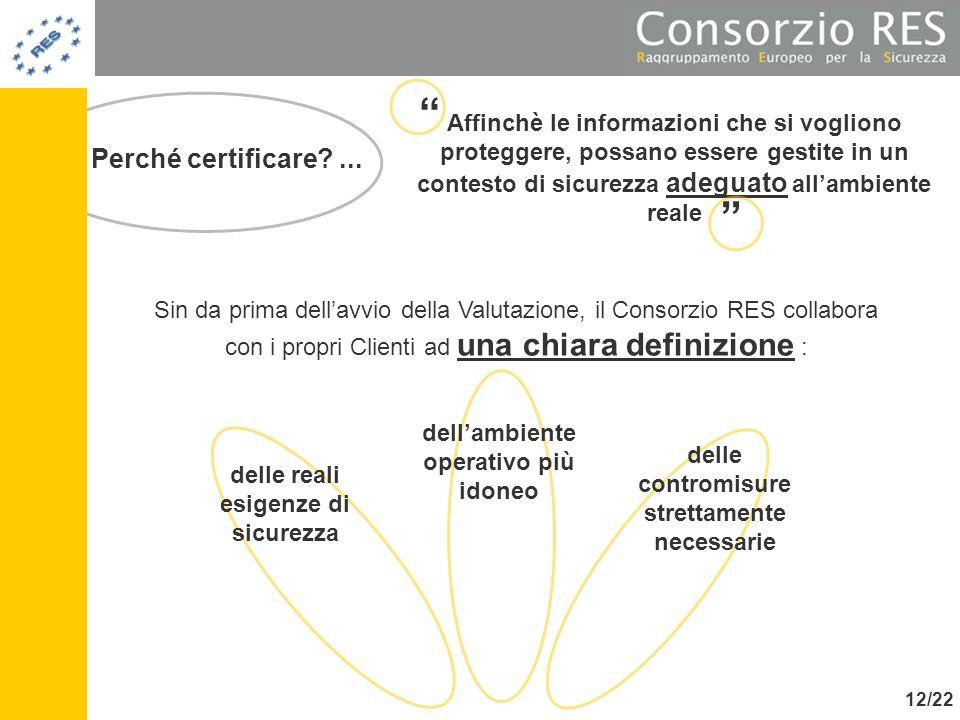 Perché certificare?... Sin da prima dellavvio della Valutazione, il Consorzio RES collabora con i propri Clienti ad una chiara definizione : Affinchè