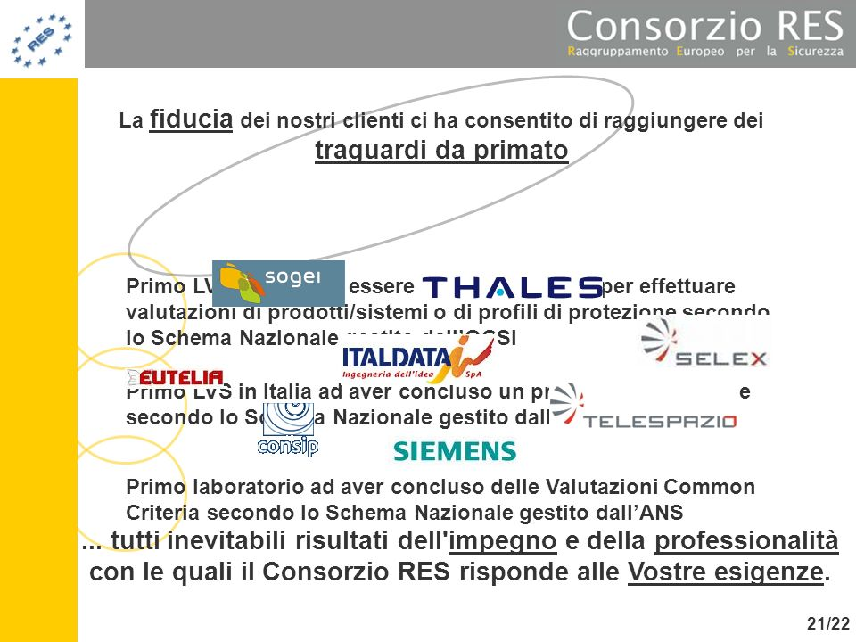 La fiducia dei nostri clienti ci ha consentito di raggiungere dei traguardi da primato Primo LVS in Italia ad aver concluso un processo Valutazione se