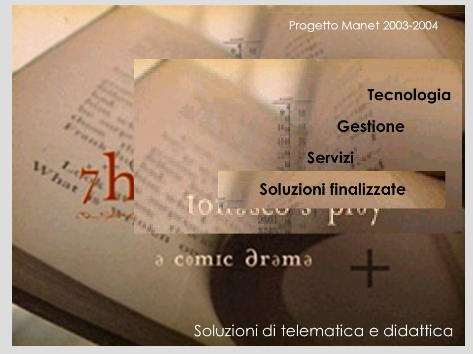 Progetto Manet 2003-2004 Tecnologia Gestione Servizi Soluzioni finalizzate Soluzioni di telematica e didattica