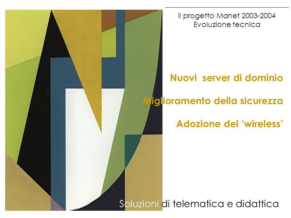 Il progetto Manet 2003-2004 Evoluzione tecnica Soluzioni di telematica e didattica Adozione del wireless Miglioramento della sicurezza Nuovi server di