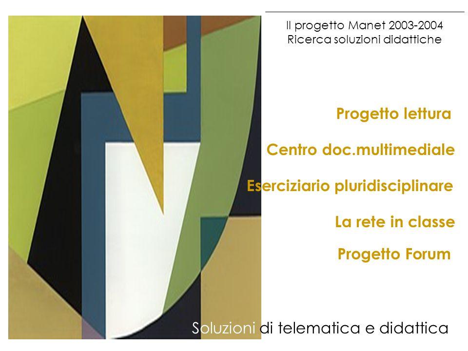 Il progetto Manet 2003-2004 Ricerca soluzioni didattiche Soluzioni di telematica e didattica Eserciziario pluridisciplinare Centro doc.multimediale Pr
