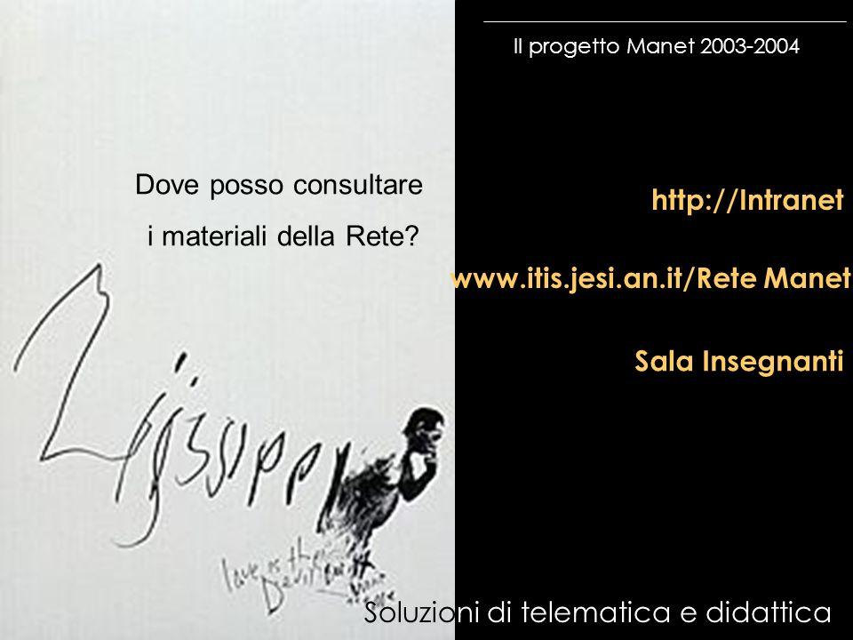 Il progetto Manet 2003-2004 Soluzioni di telematica e didattica http://Intranet www.itis.jesi.an.it/Rete Manet Sala Insegnanti Dove posso consultare i