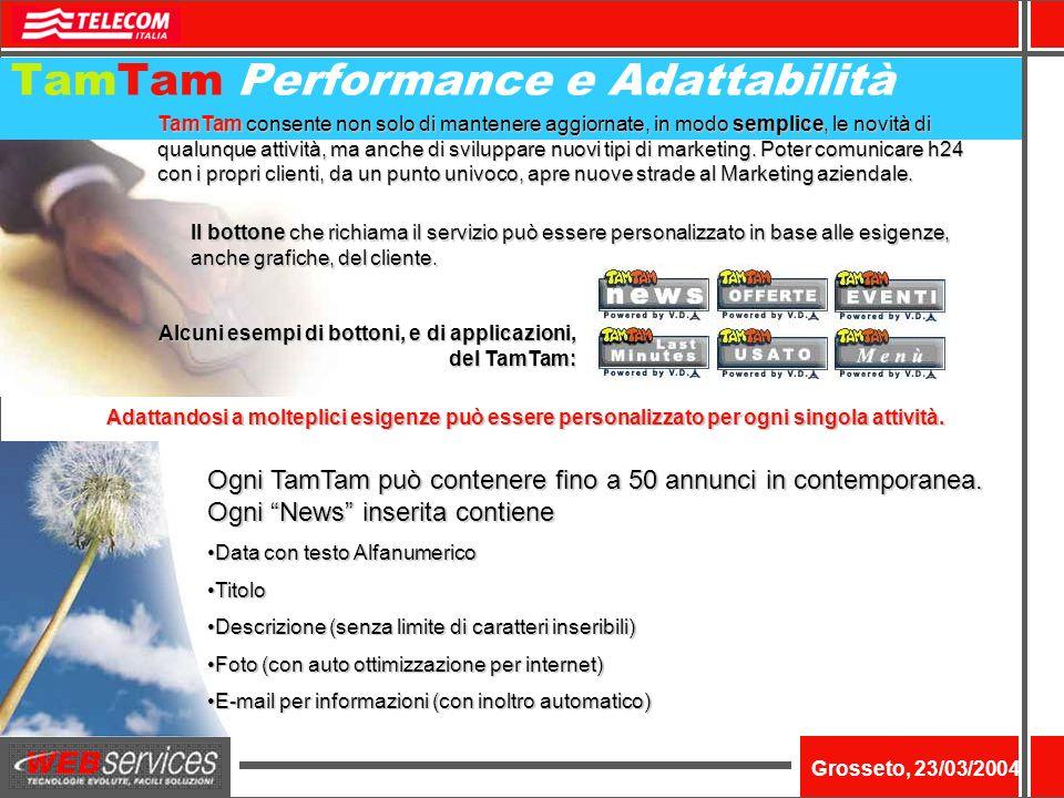 Nome dellevento Grosseto, 23/03/2004 TamTam Performance e Adattabilità TamTam consente non solo di mantenere aggiornate, in modo semplice, le novità di qualunque attività, ma anche di sviluppare nuovi tipi di marketing.