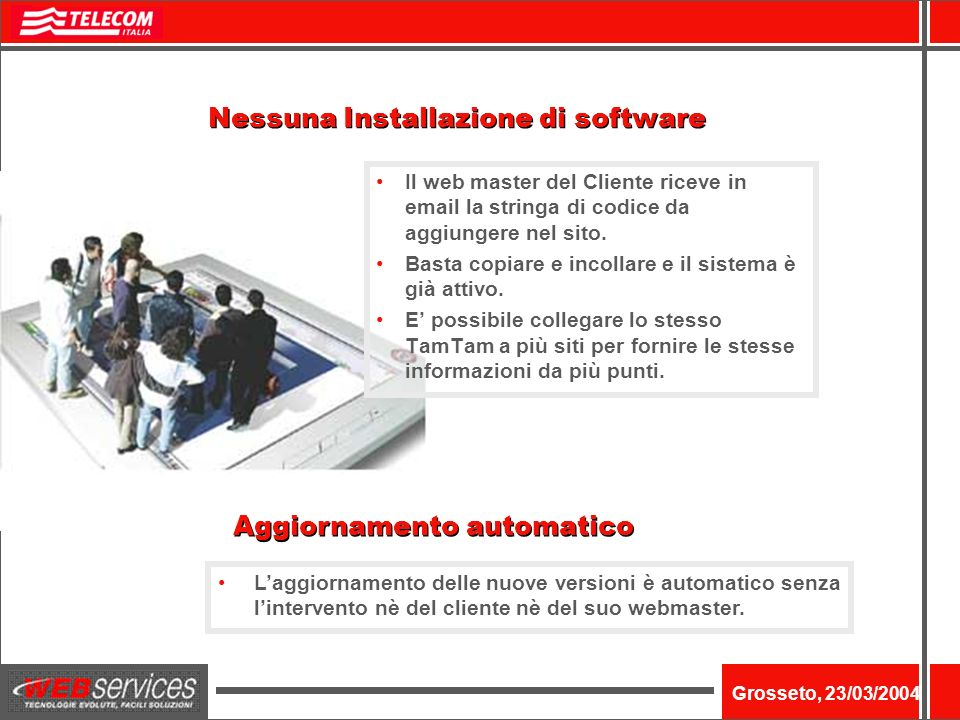 Nome dellevento Grosseto, 23/03/2004 Laggiornamento delle nuove versioni è automatico senza lintervento nè del cliente nè del suo webmaster.