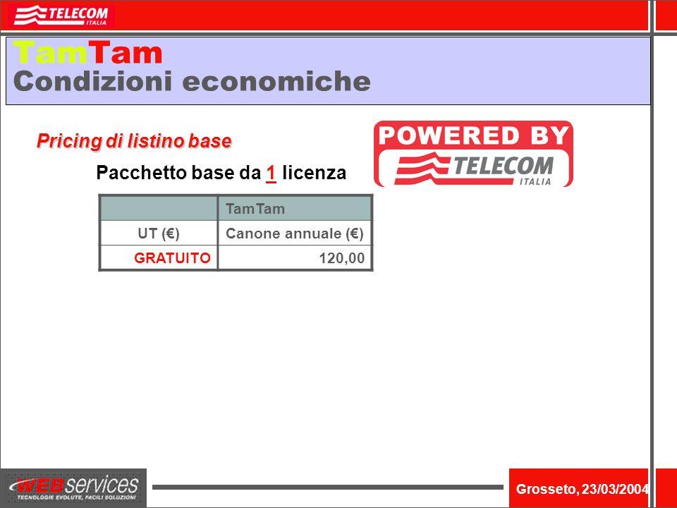 Nome dellevento Grosseto, 23/03/2004 TamTam Condizioni economiche TamTam UT ()Canone annuale () GRATUITO120,00 Pacchetto base da 1 licenza Pricing di listino base