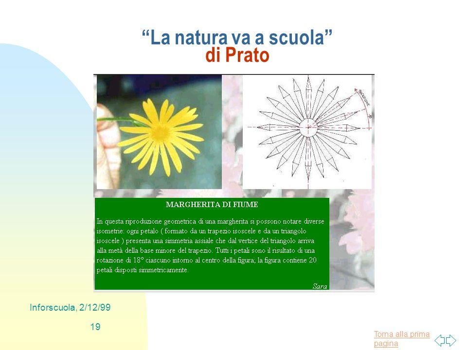 Torna alla prima pagina Inforscuola, 2/12/99 19 La natura va a scuola di Prato