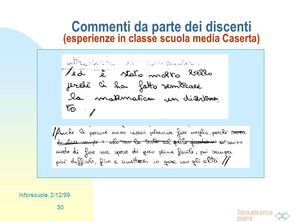Torna alla prima pagina Inforscuola, 2/12/99 30 Commenti da parte dei discenti (esperienze in classe scuola media Caserta)
