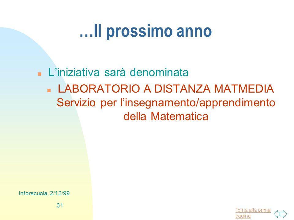 Torna alla prima pagina Inforscuola, 2/12/99 31 …Il prossimo anno n Liniziativa sarà denominata n LABORATORIO A DISTANZA MATMEDIA Servizio per linsegnamento/apprendimento della Matematica