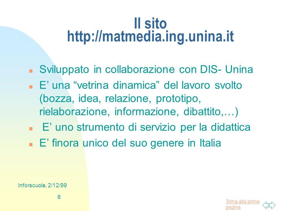 Torna alla prima pagina Inforscuola, 2/12/99 6 Il sito http://matmedia.ing.unina.it n Sviluppato in collaborazione con DIS- Unina n E una vetrina dina