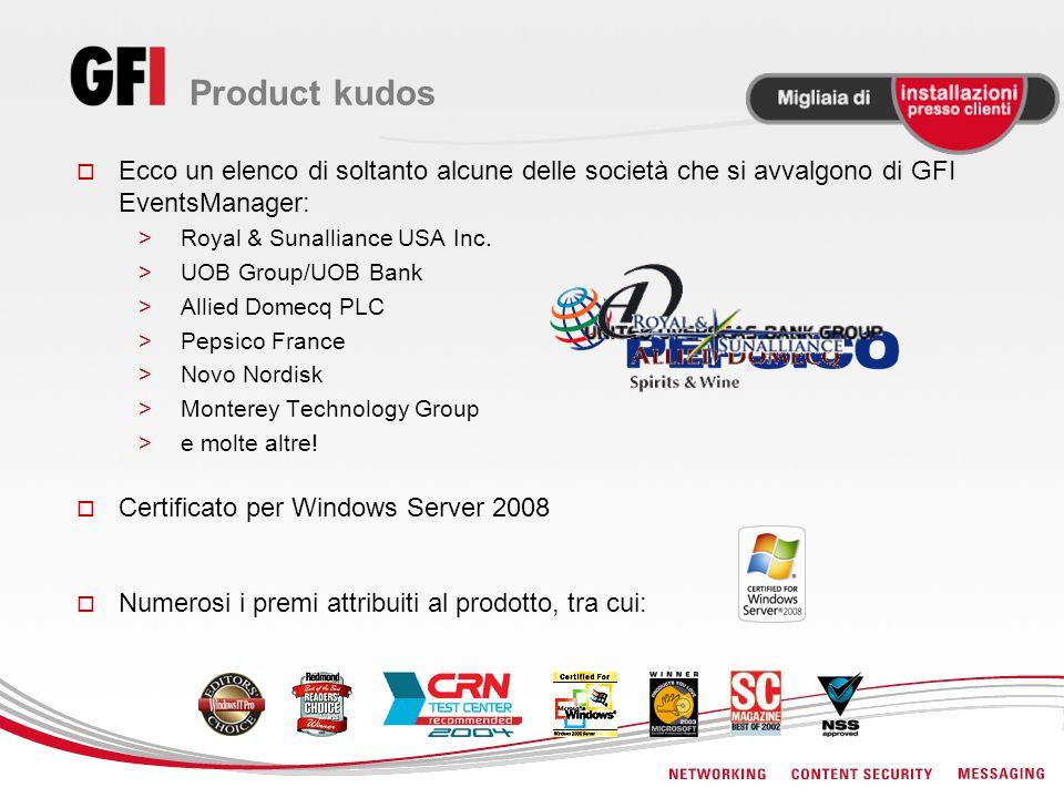 Product kudos Ecco un elenco di soltanto alcune delle società che si avvalgono di GFI EventsManager: >Royal & Sunalliance USA Inc.
