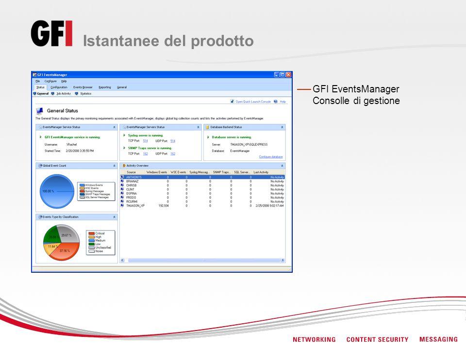 Istantanee del prodotto GFI EventsManager Consolle di gestione
