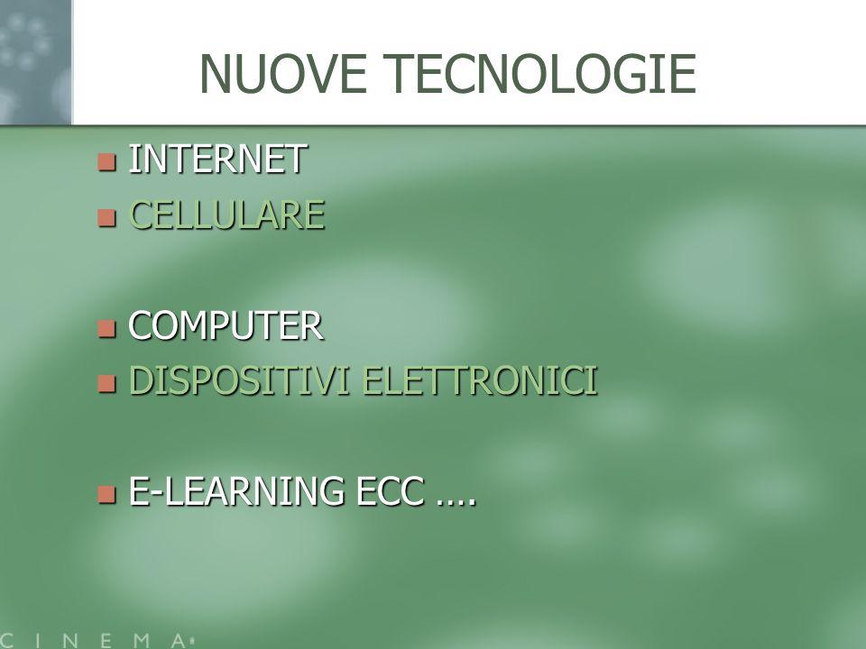 NUOVE TECNOLOGIE INTERNET INTERNET CELLULARE CELLULARE COMPUTER COMPUTER DISPOSITIVI ELETTRONICI DISPOSITIVI ELETTRONICI E-LEARNING ECC …. E-LEARNING