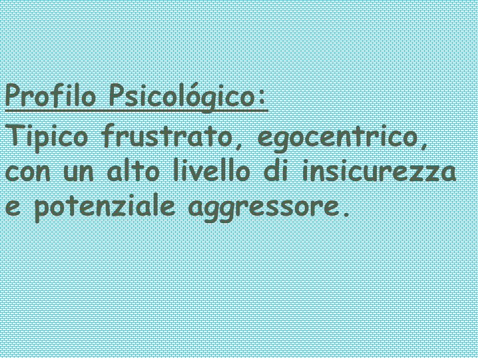 Profilo Psicológico: Tipico frustrato, egocentrico, con un alto livello di insicurezza e potenziale aggressore.