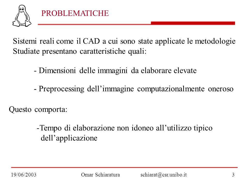 Omar Schiaraturaschiarat@csr.unibo.it19/06/20033 PROBLEMATICHE Sistemi reali come il CAD a cui sono state applicate le metodologie Studiate presentano