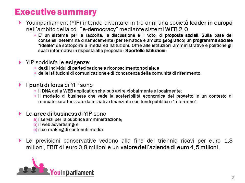 2 Youinparliament (YIP) intende diventare in tre anni una società leader in europa nellambito della cd.