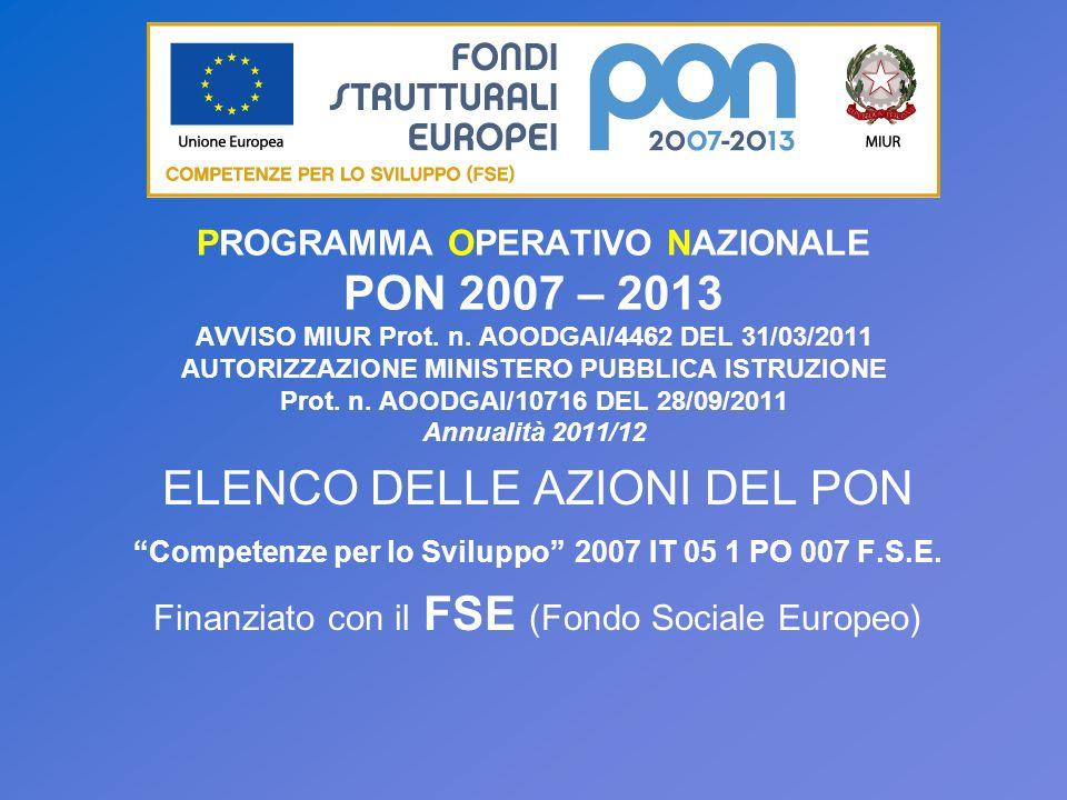 PROGRAMMA OPERATIVO NAZIONALE PON 2007 – 2013 AVVISO MIUR Prot. n. AOODGAI/4462 DEL 31/03/2011 AUTORIZZAZIONE MINISTERO PUBBLICA ISTRUZIONE Prot. n. A