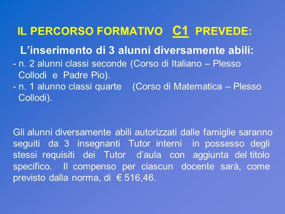 IL PERCORSO FORMATIVO C1 PREVEDE: Linserimento di 3 alunni diversamente abili: - n. 2 alunni classi seconde (Corso di Italiano – Plesso Collodi e Padr