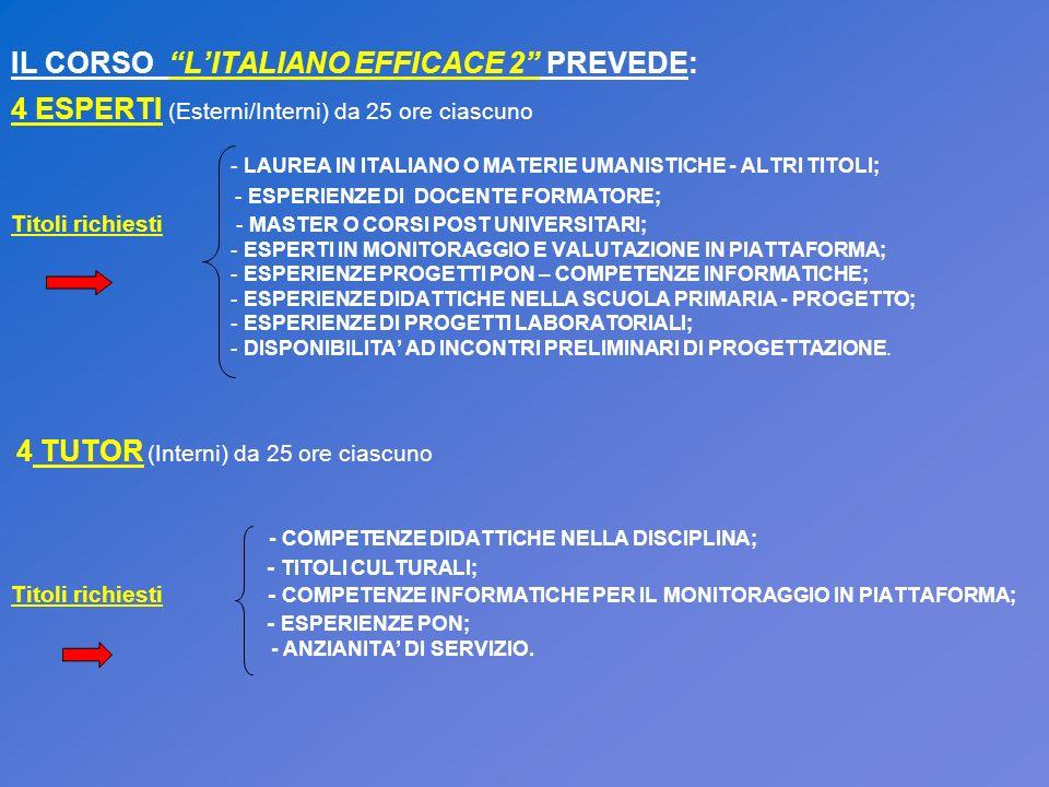 IL CORSO LITALIANO EFFICACE 2 PREVEDE: 4 ESPERTI (Esterni/Interni) da 25 ore ciascuno - LAUREA IN ITALIANO O MATERIE UMANISTICHE - ALTRI TITOLI; - ESP