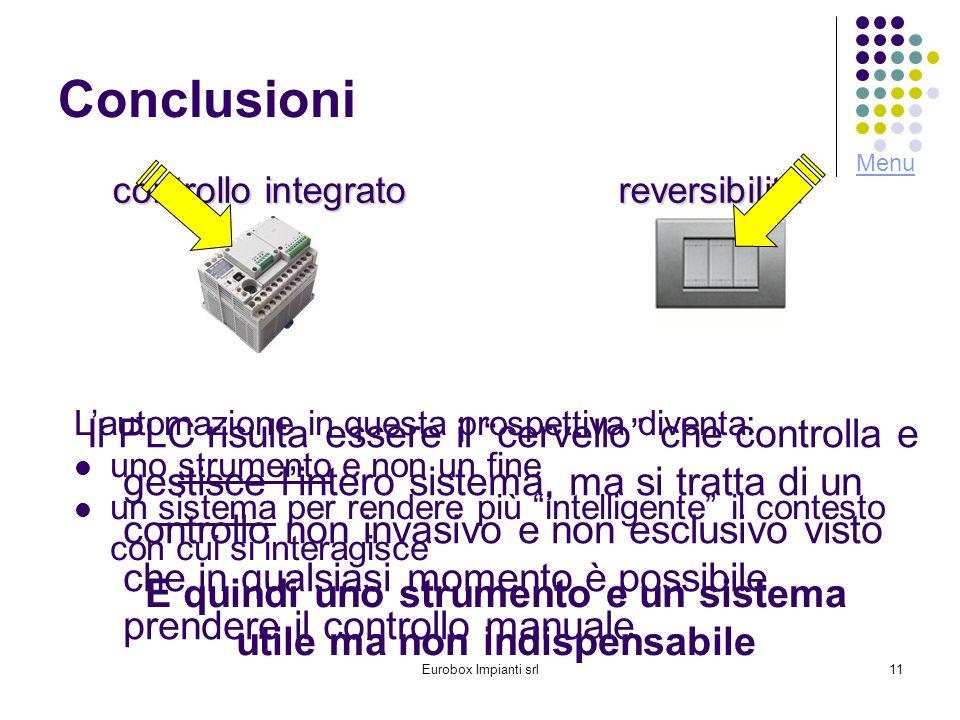Eurobox Impianti srl11 Conclusioni Il PLC risulta essere il cervello che controlla e gestisce lintero sistema, ma si tratta di un controllo non invasi
