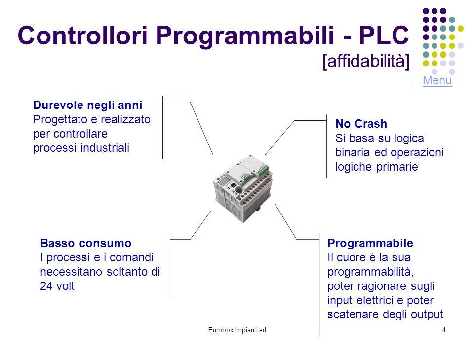 Eurobox Impianti srl4 Controllori Programmabili - PLC [affidabilità] Durevole negli anni Progettato e realizzato per controllare processi industriali