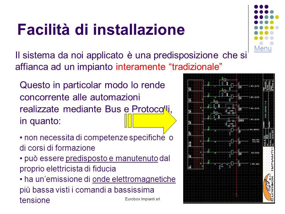 Eurobox Impianti srl6 Facilità di installazione Il sistema da noi applicato è una predisposizione che si affianca ad un impianto interamente tradizion