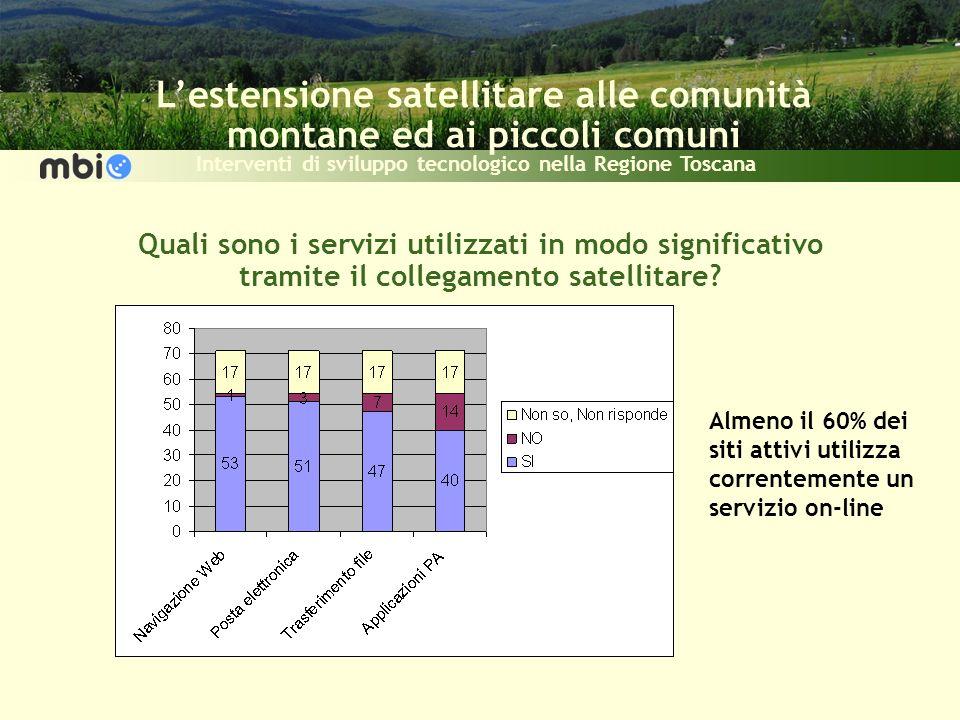 Lestensione satellitare alle comunità montane ed ai piccoli comuni Interventi di sviluppo tecnologico nella Regione Toscana Quali sono i servizi utilizzati in modo significativo tramite il collegamento satellitare.