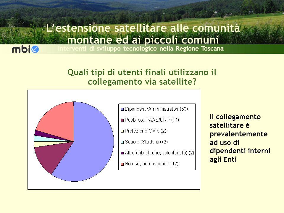 Lestensione satellitare alle comunità montane ed ai piccoli comuni Interventi di sviluppo tecnologico nella Regione Toscana Quali tipi di utenti finali utilizzano il collegamento via satellite.